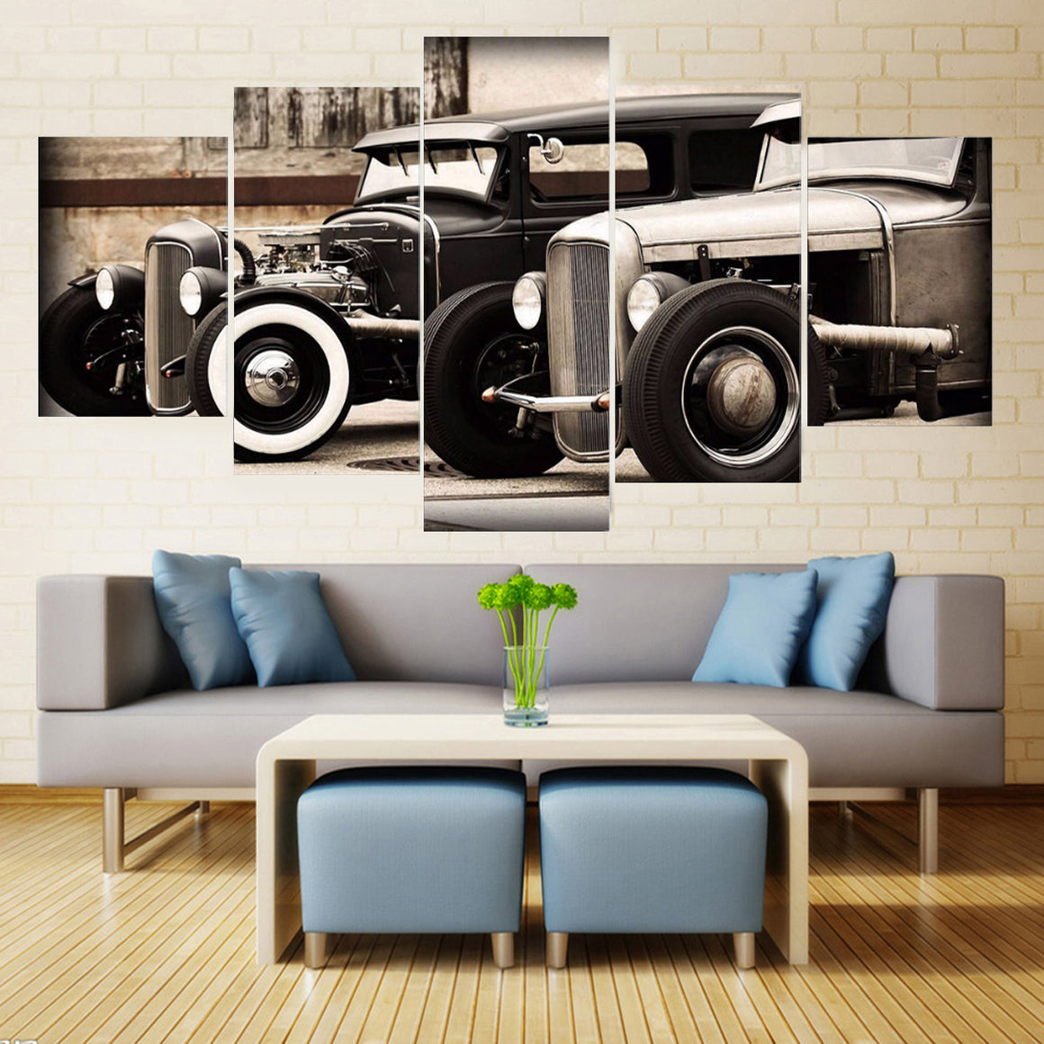 Hot Rod Vintage Car Multipanel Canvas