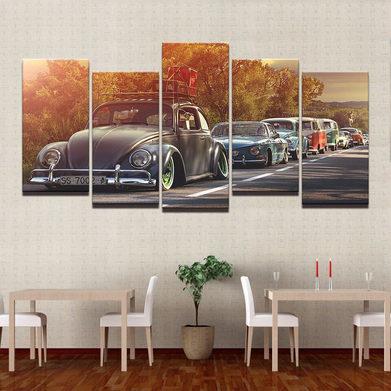 Retro Cars Sunset Wall Art