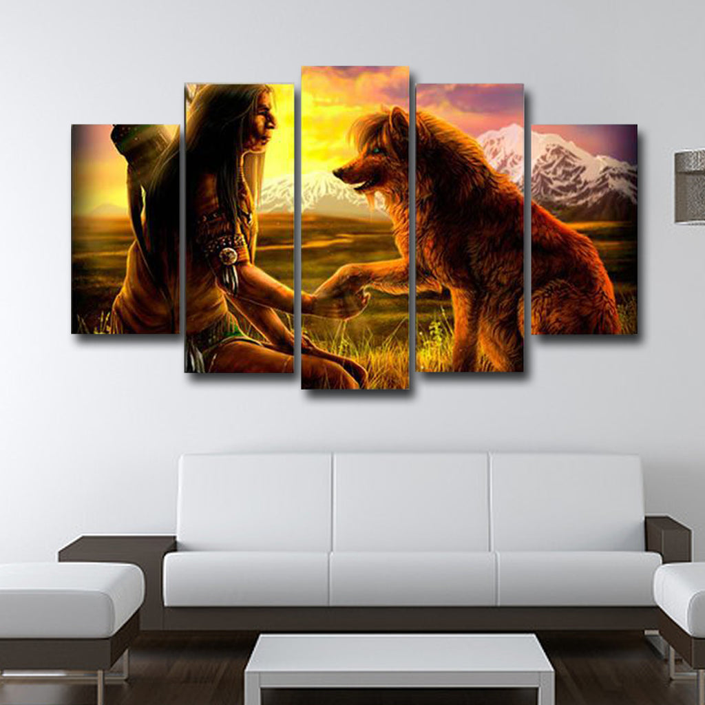 Indians And The Wolf Canvas Art