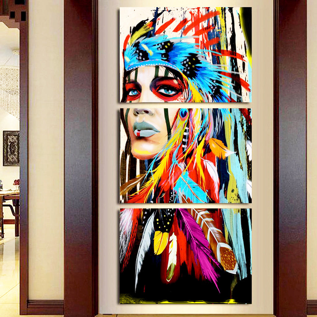 The Indians Feathered Canvas Print Wall Art