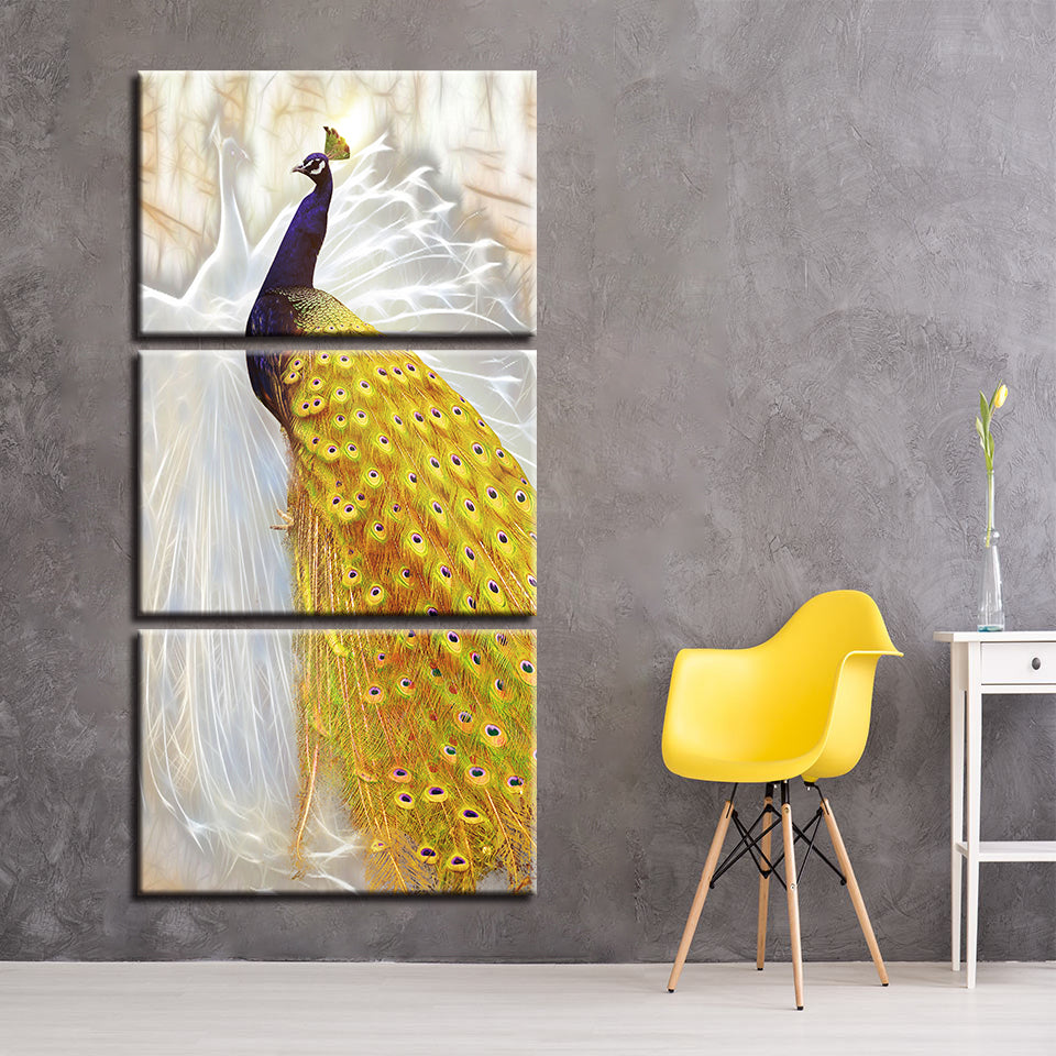 Abstract Golden Tail Peacock Wall Art