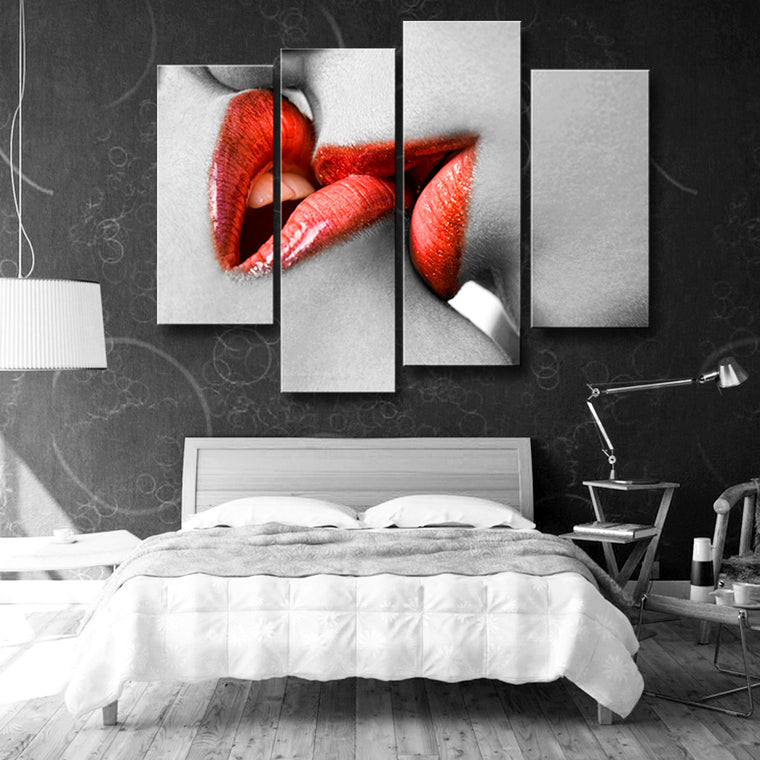 Red Kiss Canvas Wall Art