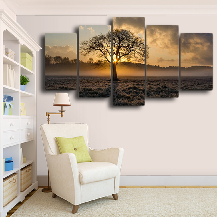 Sunrise Tree Landscape Wall Art