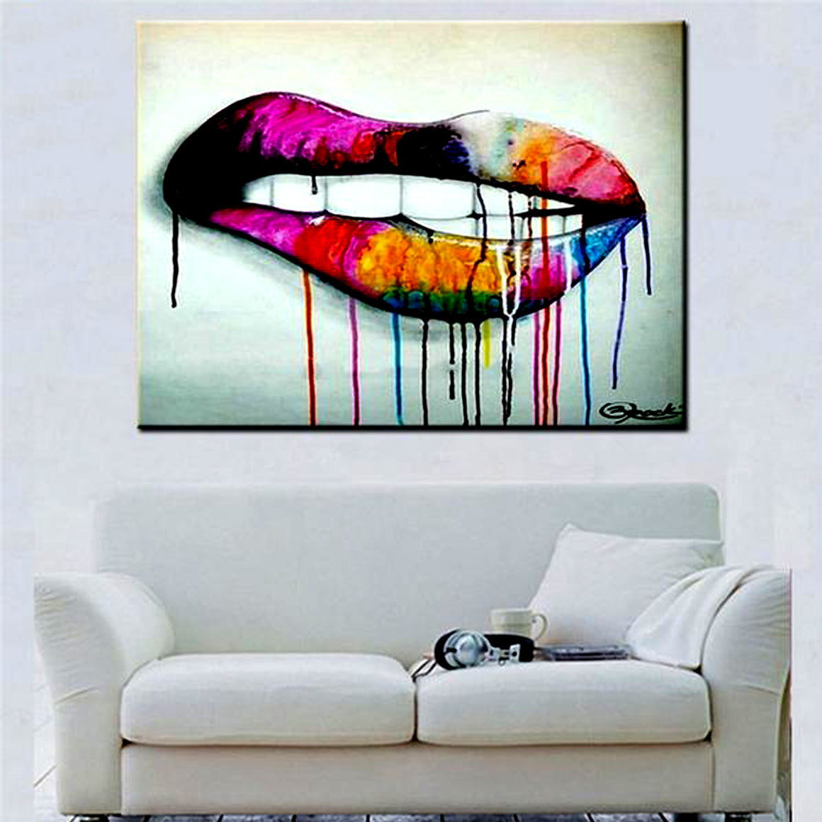 Modern Abstract Lips Wall Art