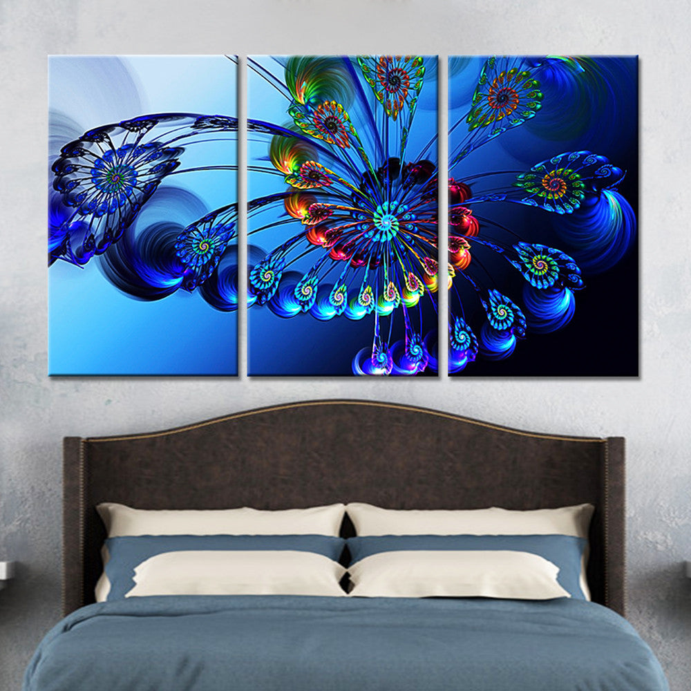 3 Panel Bule Butterfly Flowers Wall Art