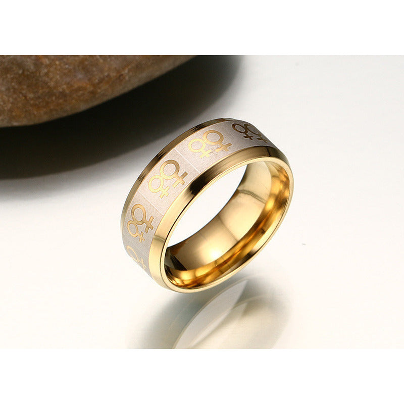 Titanium steel Female-Female Pride ring