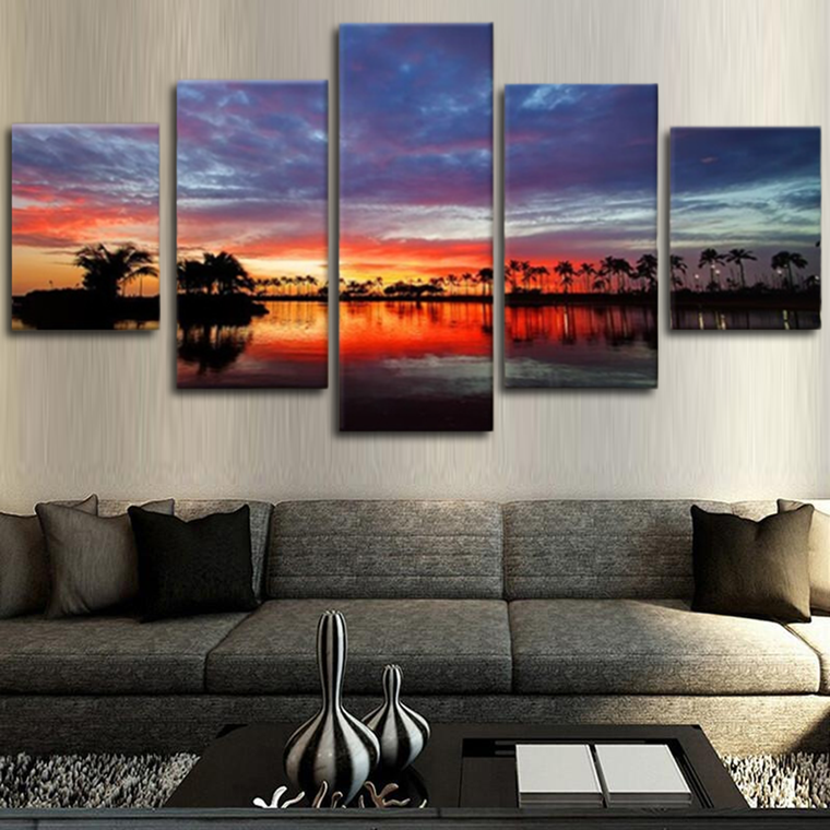Sunset River Canvas Art
