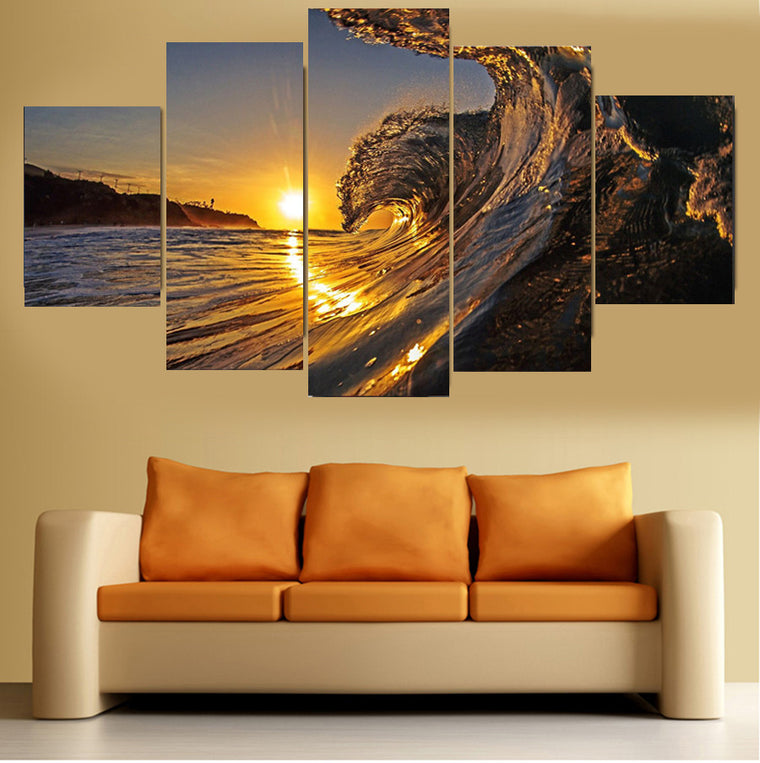 The Sunset Wave Canvas Art