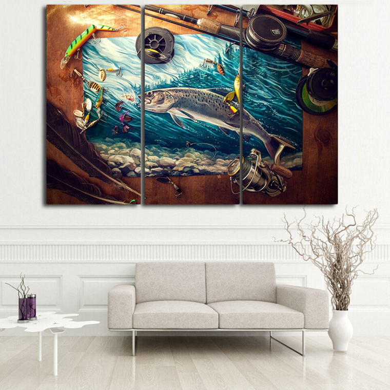 Fishing Tools 3 Panel Canvas Wall Art
