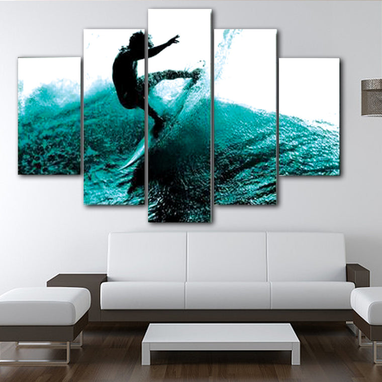 Surfer Blue Wave Wall Art