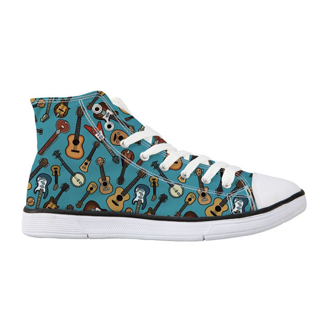 Guitar Printed High-Top Unisex Shoes