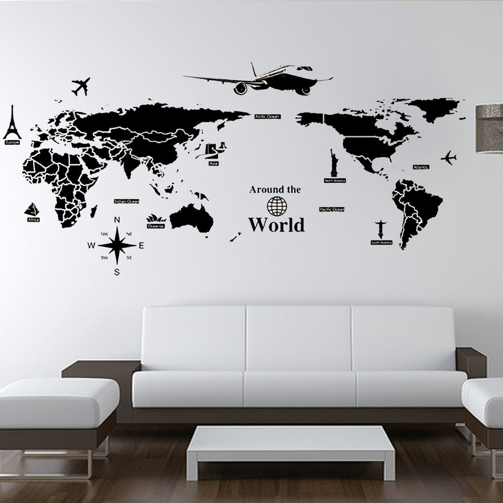World Map Wall Decorations Sticker