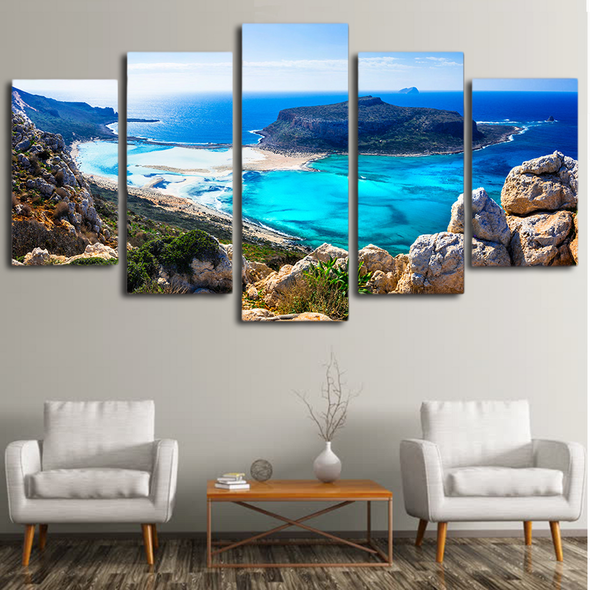 Blue Sea Beach Island Wall Art
