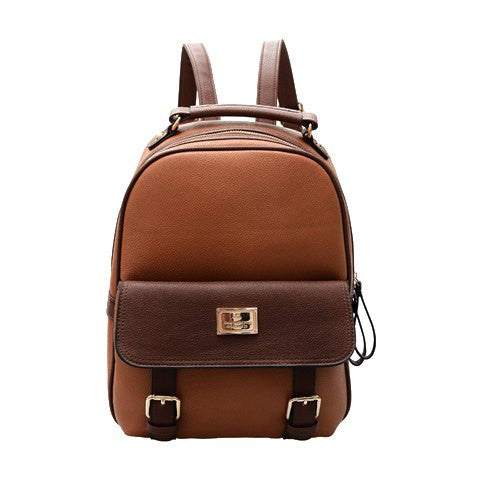 Preppy Women's Satchel With Color Block and PU Leather Design   Coffee