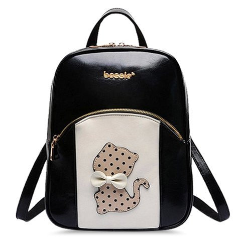 Cute Women's Color Matching Satchel With Cartoon and Bow Design   Black