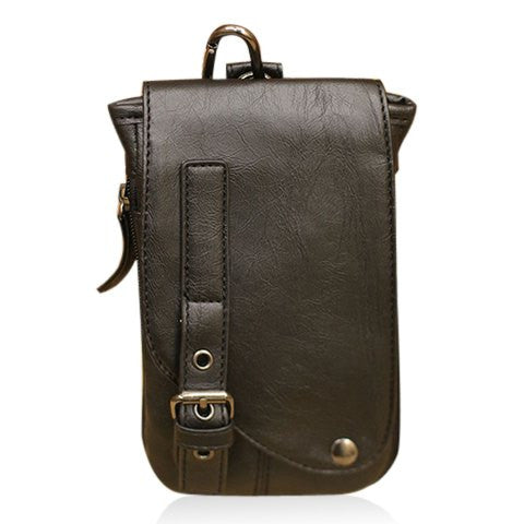 Stylish Men's Messenger Bag With Buckle Design   Black