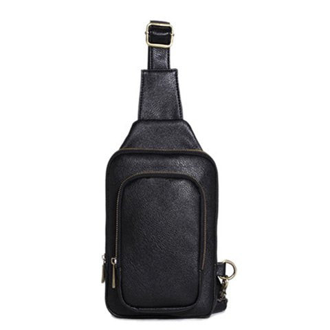 Simple Style Men's Messenger Bag With PU Leather and Zipper Design   Black
