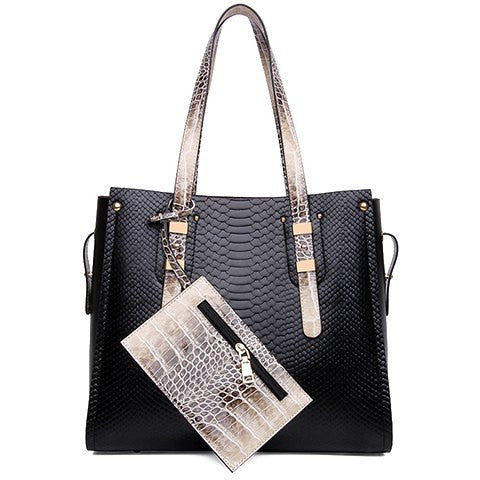 Elegant Women's Shoulder Bag With Color Block and Snake Print Design   Black
