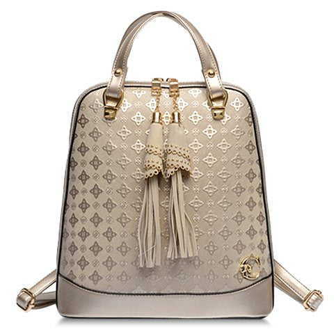 Elegant Women's Satchel With Embossing and Tassels Design   Golden