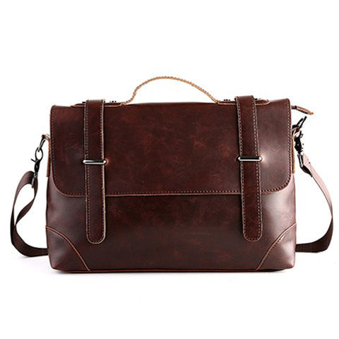 Vintage Men's Briefcase With Stitching and Solid Color Design   Coffee