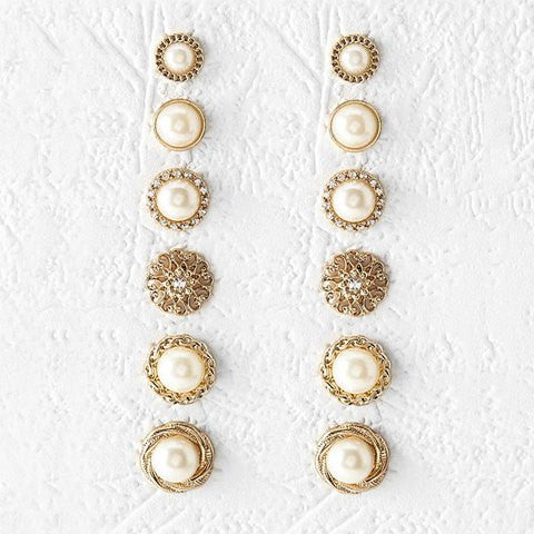 A Suit of Delicate Faux Pearl Round Earrings For Women   Golden