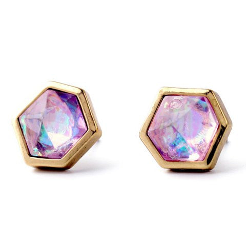 A Suit of Charming Artificial Gemstone Rhinestone Geometric Earrings For Women   Golden