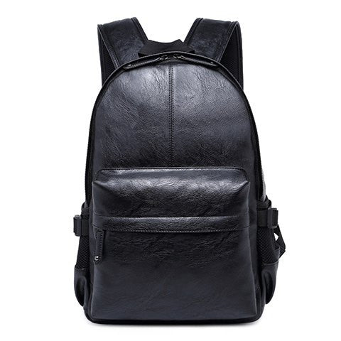 Casual Men's Backpack With Zipper and PU Leather Design   Black