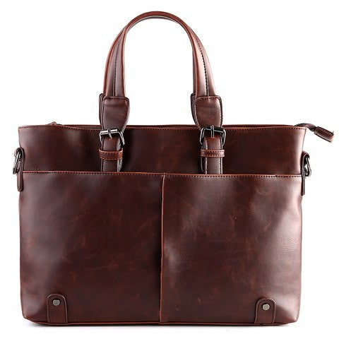 Stylish Men's Briefcase With Solid Colour and Buckles Design   Brown