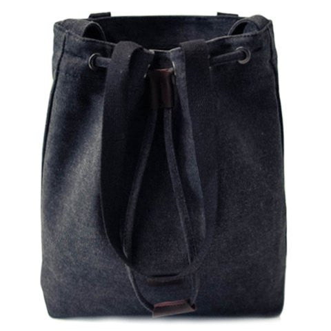 Casual Women's Shoulder Bag With Canvas and Drawstring Design   Black