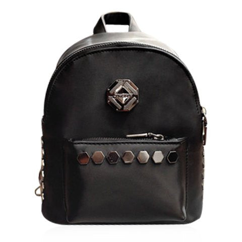 Stylish Women's Satchel With Solid Colour and Metal Design   Black