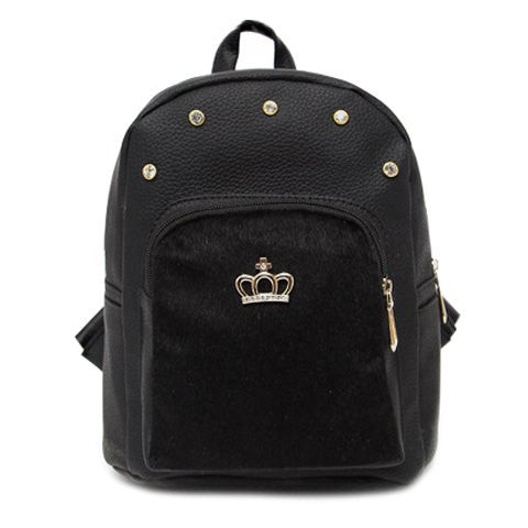 Fashionable Women's Satchel With Black Color and Crown Design   Black