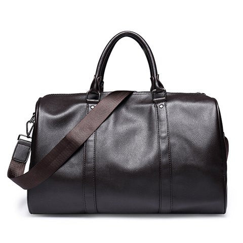 Leisure Men's Messenger Bag With Metal and Solid Colour Design   Coffee