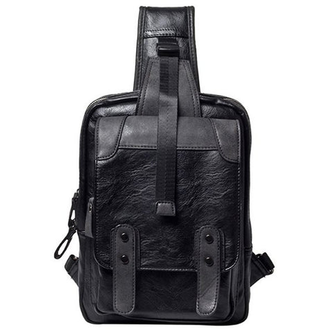 Casual Men's Messenger Bag With Metal and Black Color Design   Black