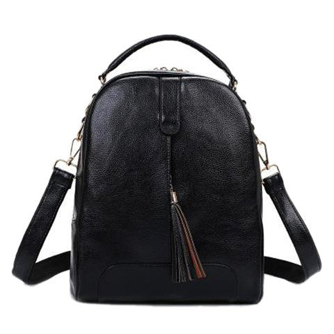 Fashionable Women's Satchel With Tassels and PU Leather Design   Black