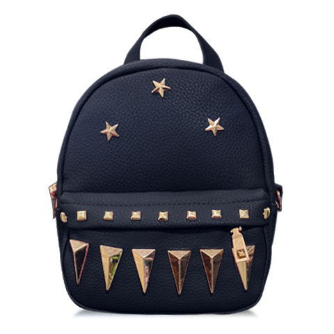 Fashionable Women's Satchel With Solid Color and Pentagrams Design   Black