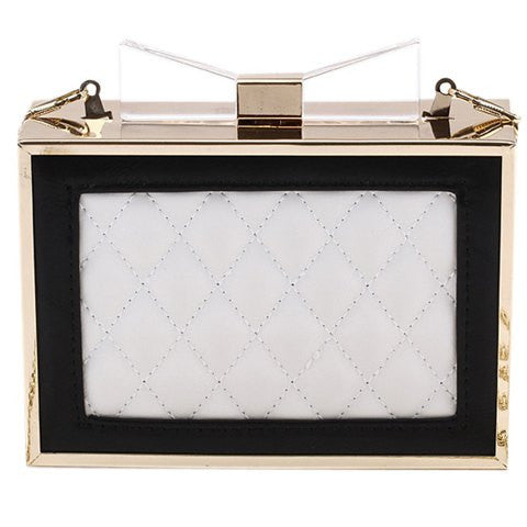 Elegant Women's Evening Bag With Chain and Checked Design   White Golden,