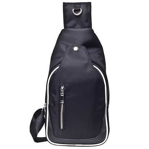 Casual Men's Messenger Bag With Zippers and Nylon Design   Black