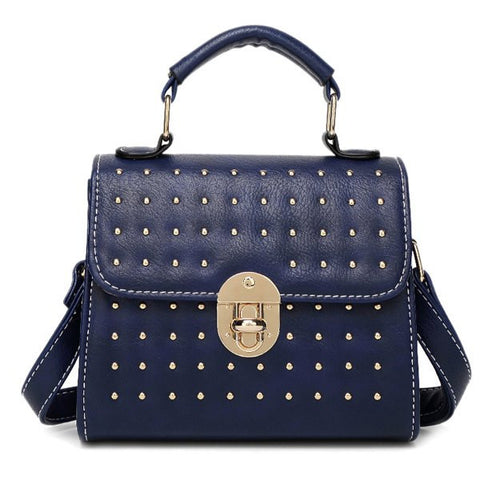 Fashion Women's Tote Bag With Solid Color and Rivets Design   Blue