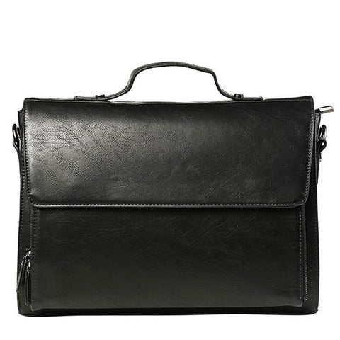 Casual Men's Messenger Bag With Black Color and Cover Design   Black