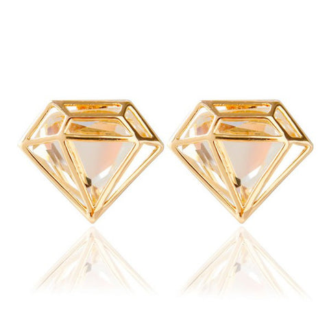 Pair of Chic Faux Crystal Diamond Stud Earrings For Women   Golden
