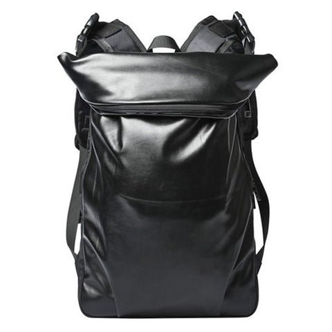 Casual Men's Backpack With Black Color and PU Leather Design   Black