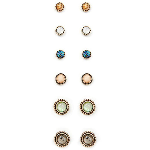 A Suit of Graceful Rhinestone Stud Earrings For Women   Color Mix