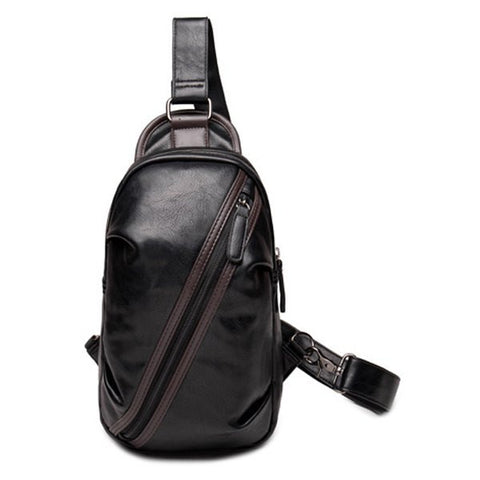 Casual Men's Messenger Bag With Zipper and Hit Colour Design   Black