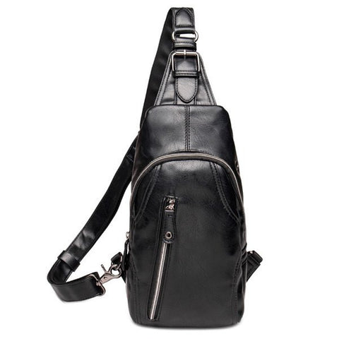 Casual Men's Messenger Bag With Black Color and Zippers Design   Black