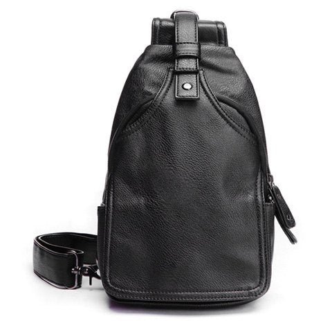 Casual Men's Messenger Bag With Zip and PU Leather Design   Black