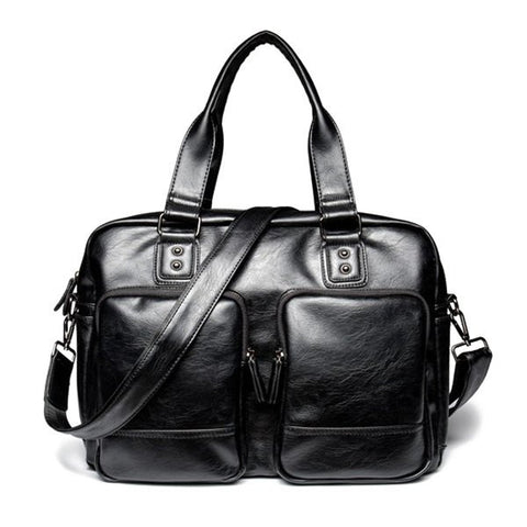Casual Men's Briefcase With Black Color and Zip Design   Black