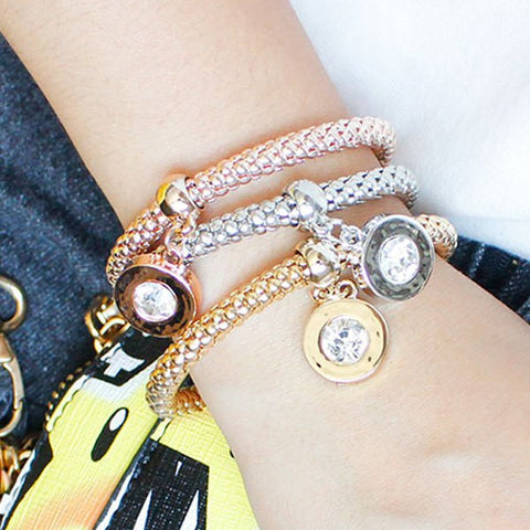 A Suit of Fashion Circle Rhinestone Multicolored Bracelets For Women   Rose Gold