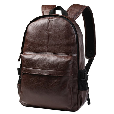 Casual Men's Backpack With Zipper and PU Leather Design   Brown