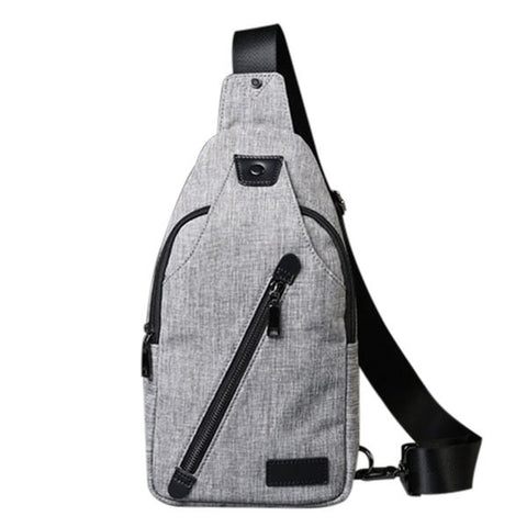 Leisure Men's Messenger Bag With Canvas and Zip Design   Gray