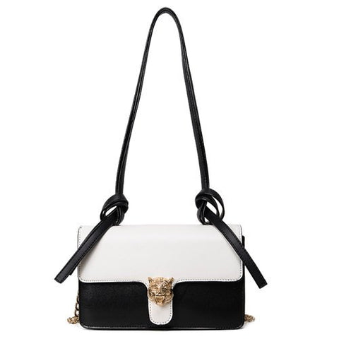 Trendy Women's Crossbody Bag With Tiger Head and Color Block Design   White and Black